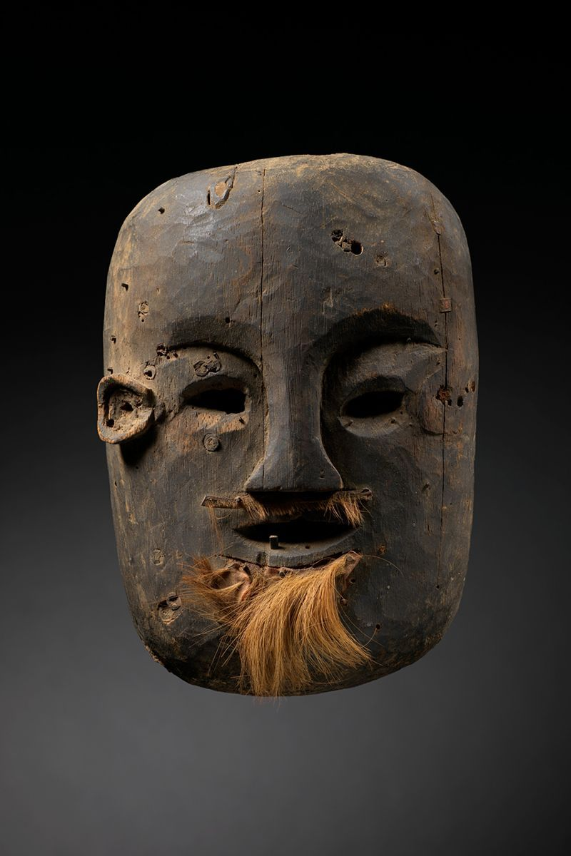 Funerary Mask 10216  Timor  Wood, pegs, fur  FIrst half 20th Century  9 in/ 23 cm