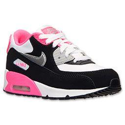 Girls' Preschool Nike Air Max 90 Running Shoes | Finish Line |  White/Metallic