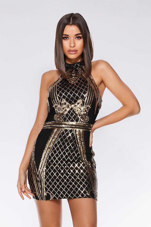 7b0446ec Quiz Black And Gold Mesh Sequin Bodycon Dress, £36.99 | Autumn ...
