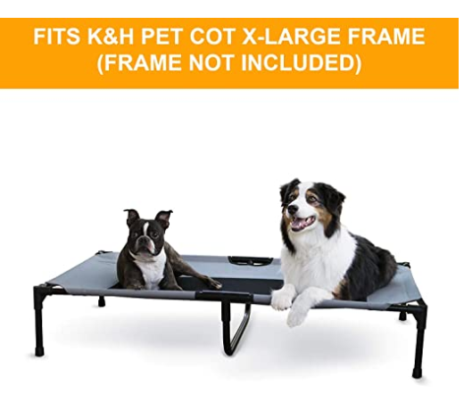 K H Pet Products Original Pet Cot Replacement Cover X Large 32 X 50 Gray Mesh Pets Best Orthopedic Dog Bed Waterproof Dog Bed