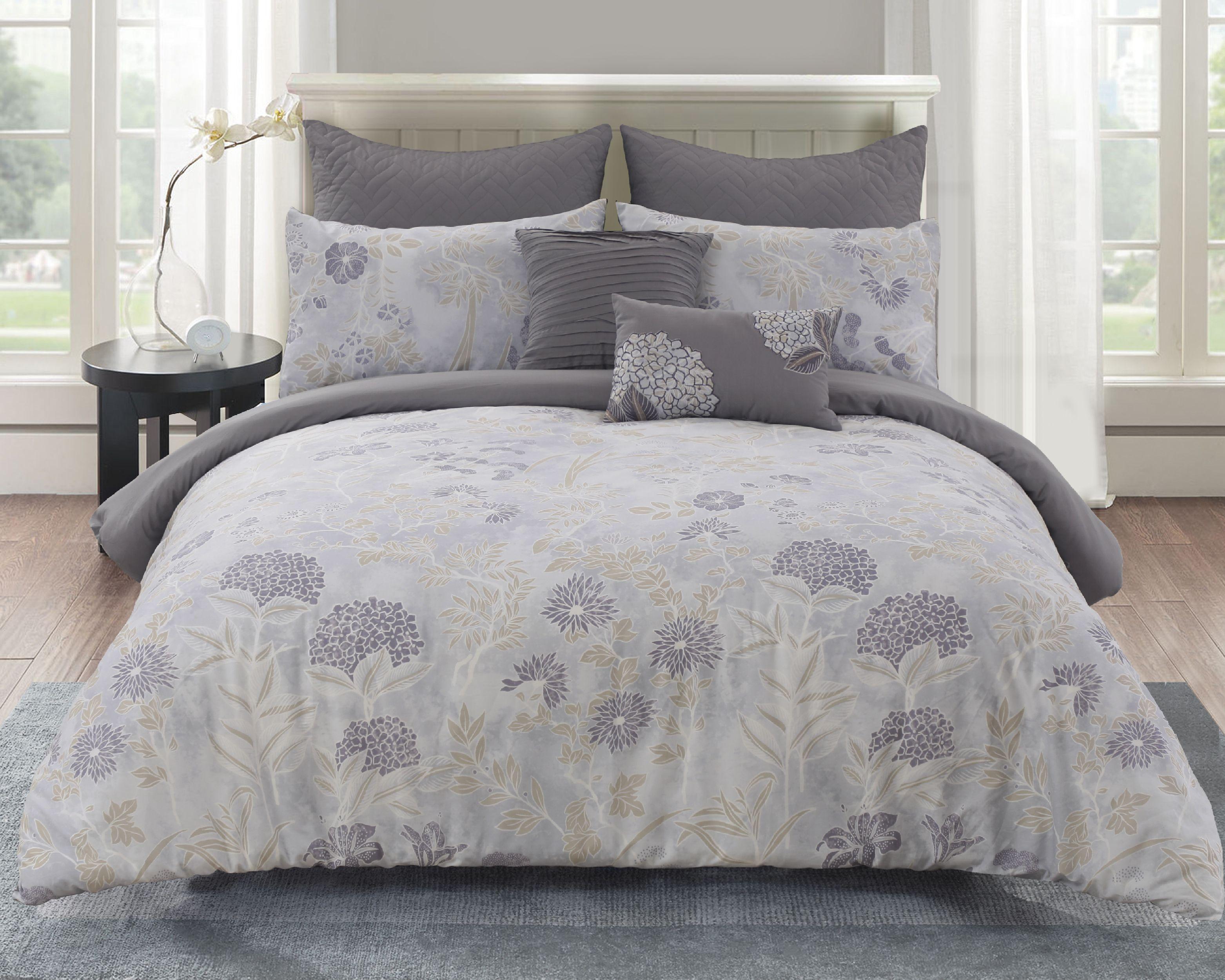 Aiko Cotton Comforter Set In Grey Cotton Comforter Set Comforter Sets King Size Comforter Sets