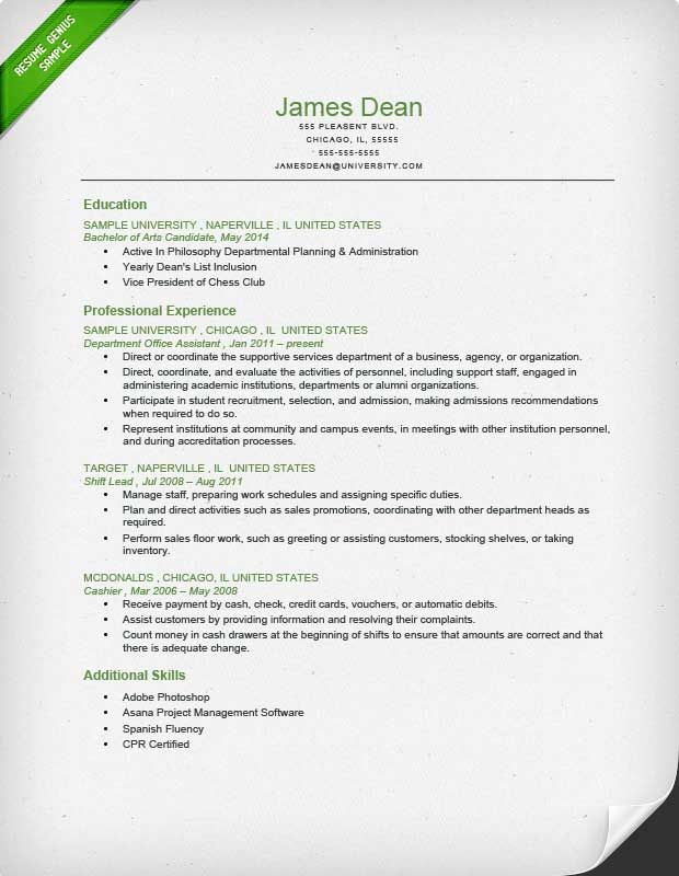 Student Reverse Chronological Resume Sample  Geography