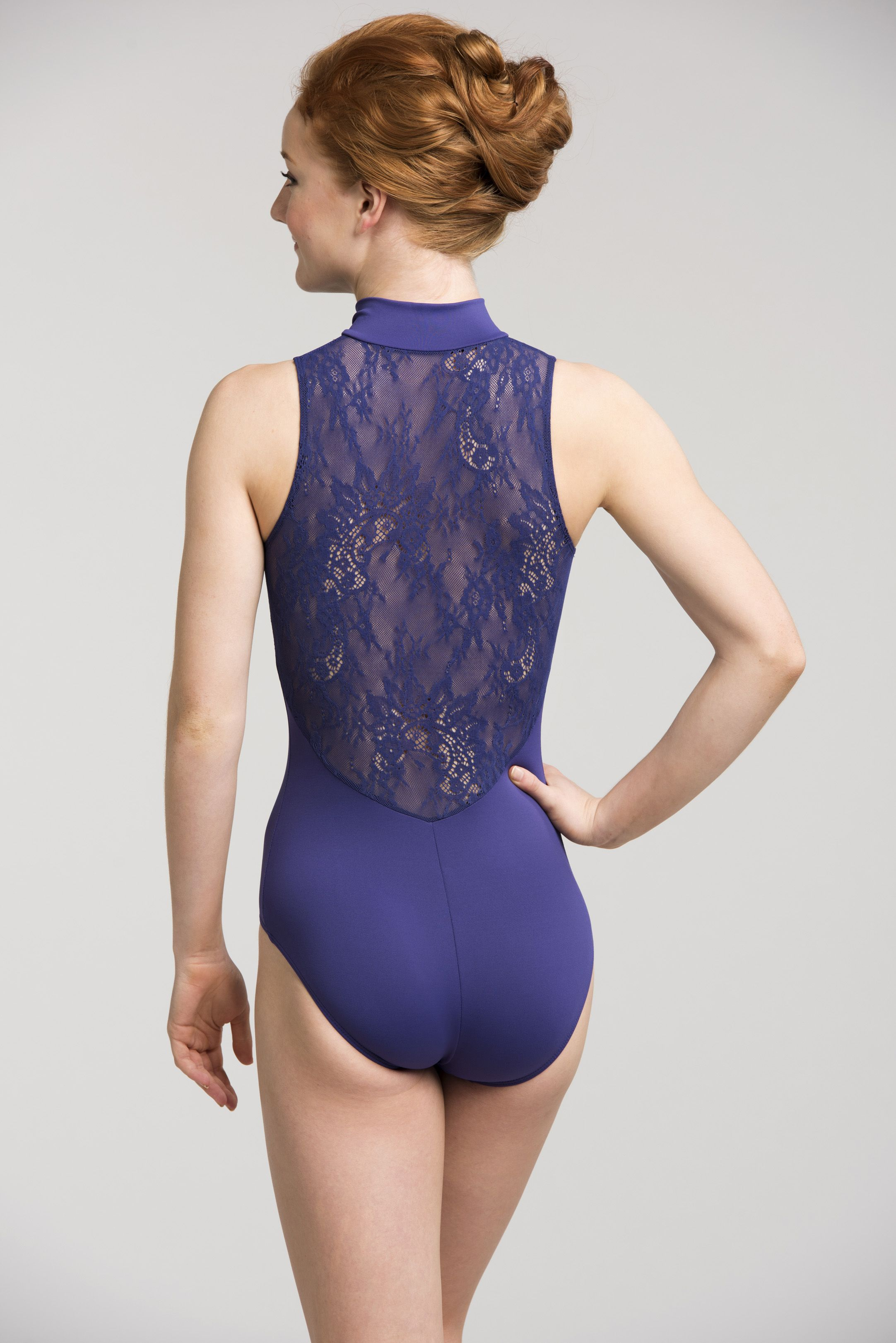 9f0c84354812 Make a bold statement in our fun purple zip front leotard with Kara Lace!  Beautiful in class and on stage.