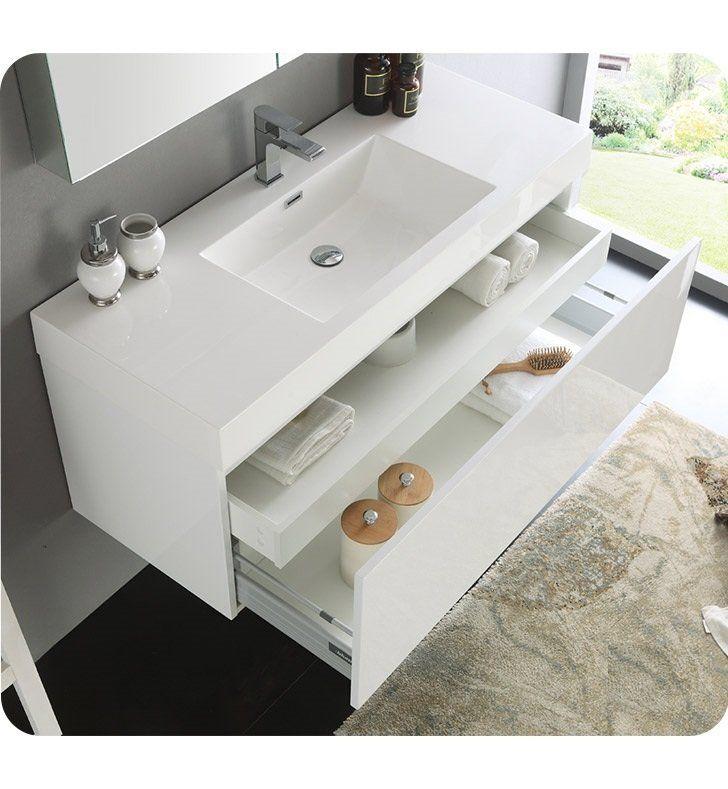 "Senza 47"" Mezzo Single Wall Mounted Modern Bathroom Vanity Set with Mirror"
