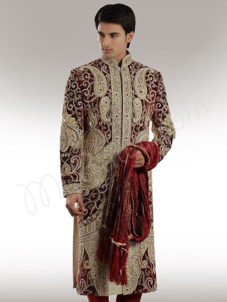 Designer velvet patch sherwani impressive india in