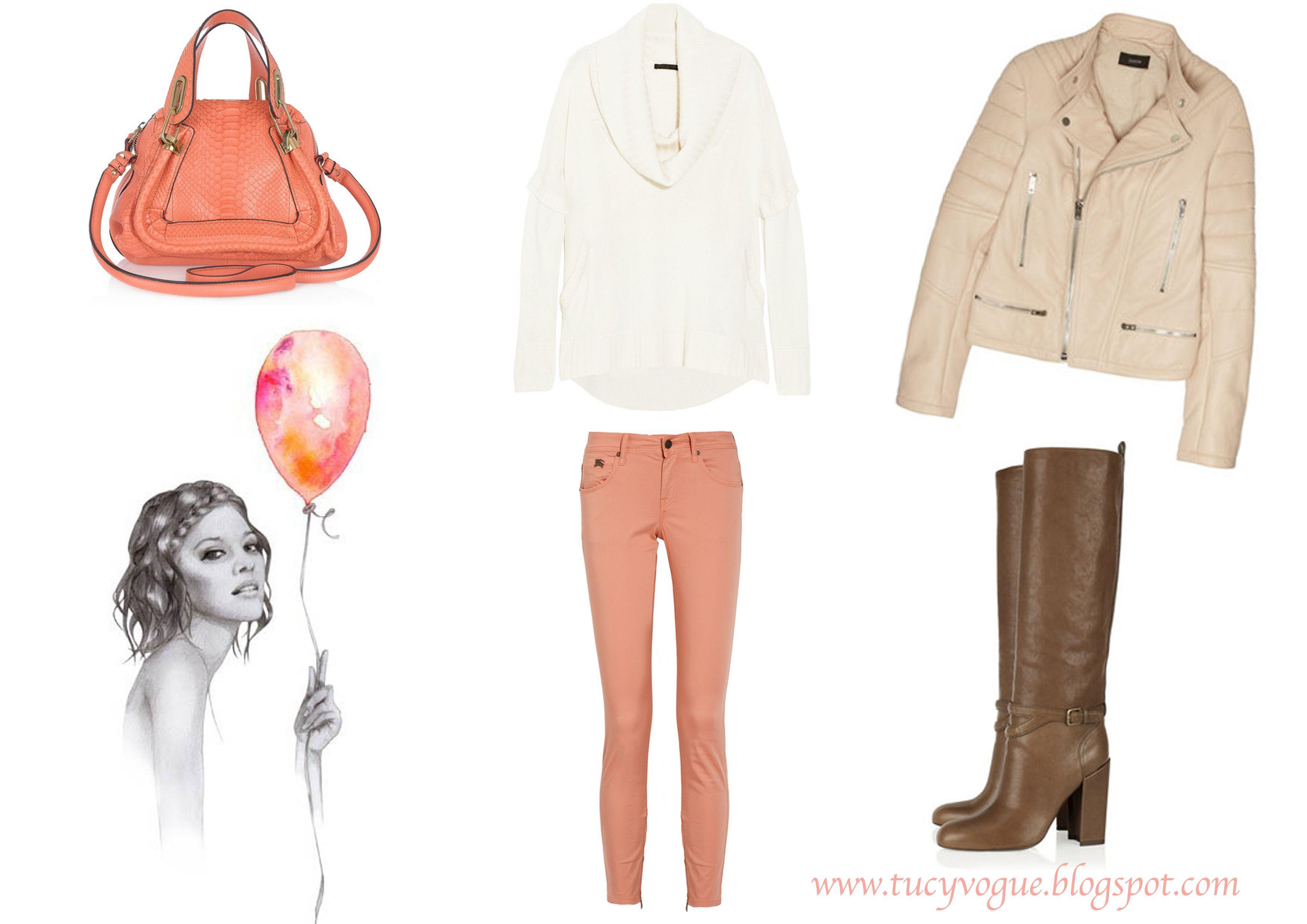 peach tones - peach jacket n peach mulberry bag with brown n cream
