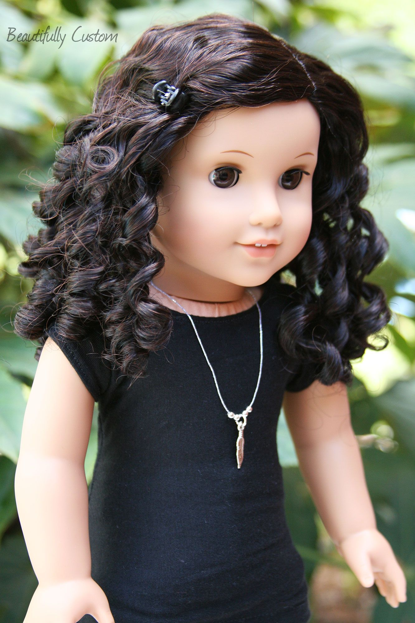Custom American Girl Doll Brown Eyes and Short Curly Black Dark