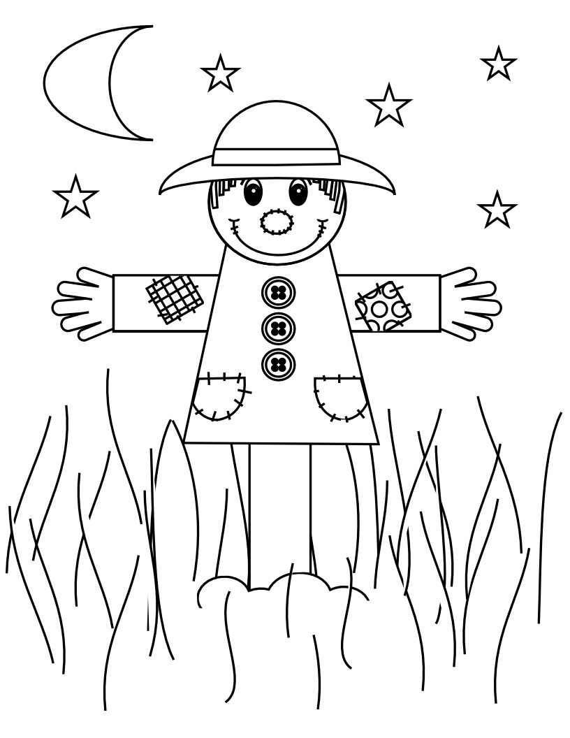 Scarecrow Coloring Page | Colouring Pages | Pinterest | Scarecrows ...