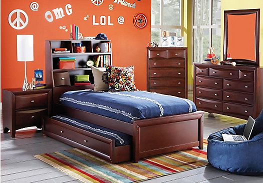 Shop For A Ivy League Cherry 5 Pc Full Bookcase Bedroom At Rooms To Go Kids