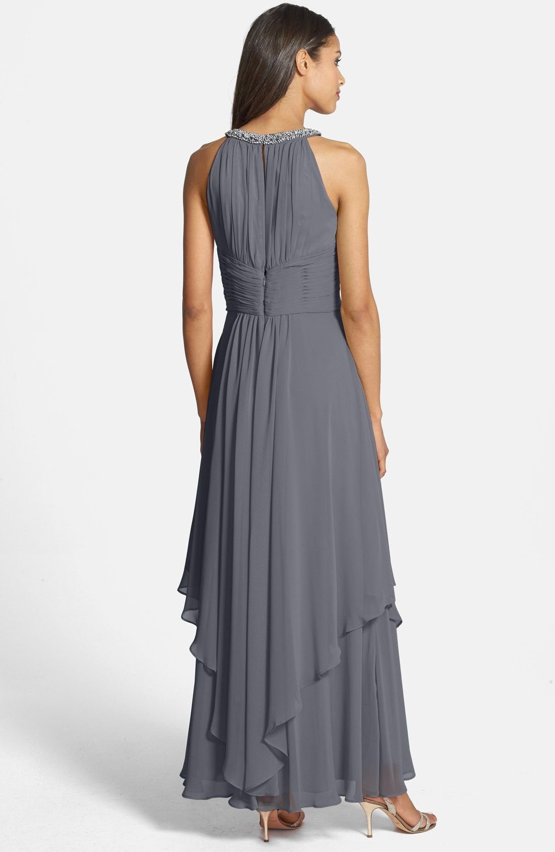 Eliza J Embellished Tiered Chiffon Halter Gown | A1 WEDDING EVENTS ...