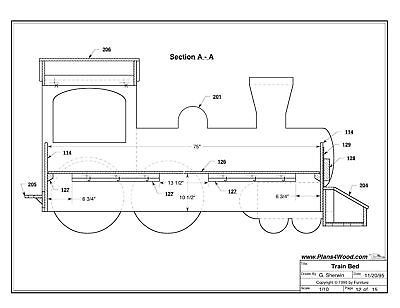 Details about Train Engine Bed Woodworking Plan by