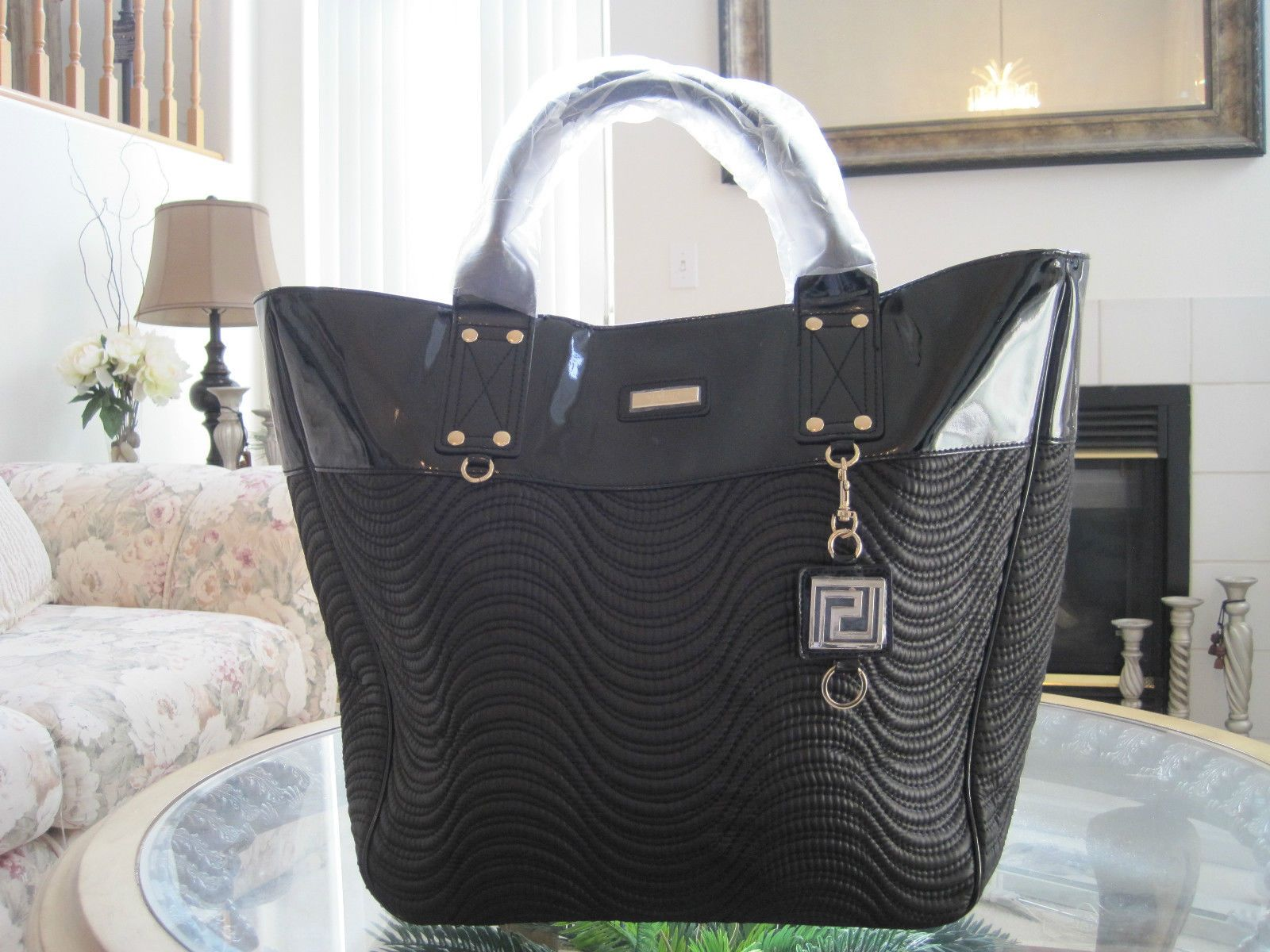 2659eaf332 Versace Parfums Women Black Duffle Bag Weekender Tote Purse Handbag ...