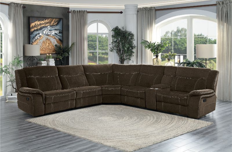 Homelegance He 9877br 6pc 6 Pc Annabelle Brown Fabric Sectional Sofa With Recliners Fabric Sectional Sofas Sectional Sofa With Recliner Sectional Sofa