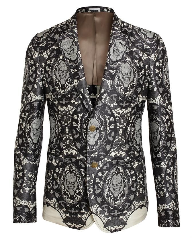 ALEXANDER MCQUEEN | Lace Printed Wool-Silk Blazer