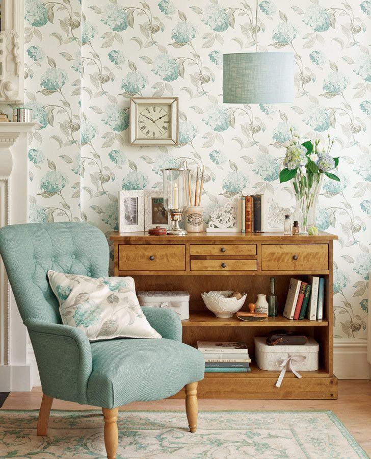 Pale Blue & Gray Floral Wallpaper | Hydrangea Duck Egg Wallpaper | Nooks | Pinterest | Laura ...