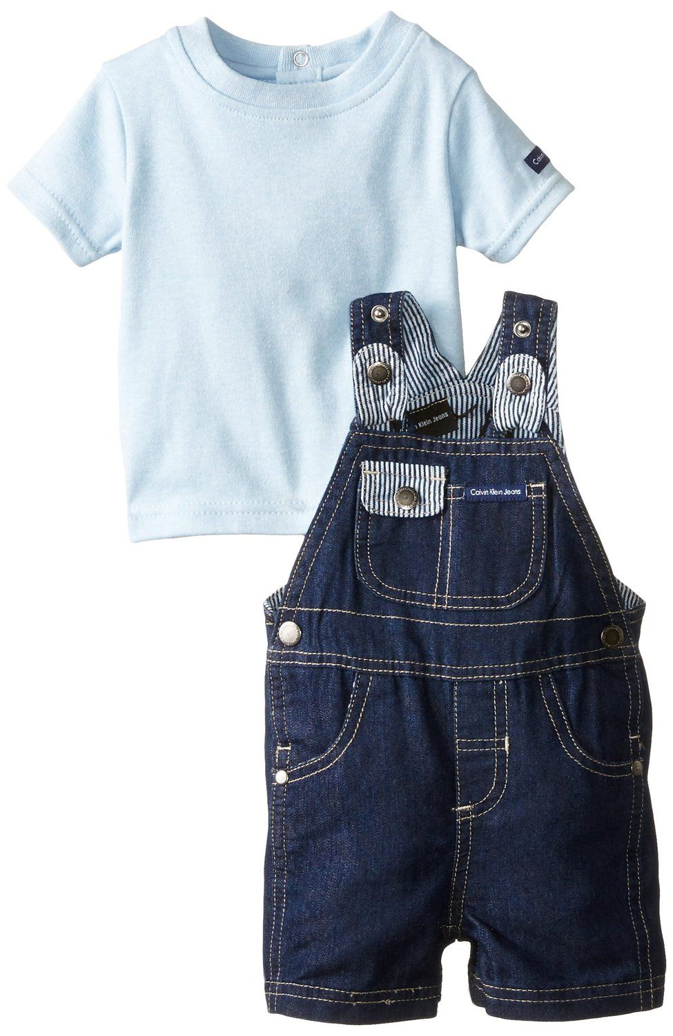 dd5e34615 Amazon.com  Calvin Klein Baby-Boys Newborn Denim Shortall with Blue ...