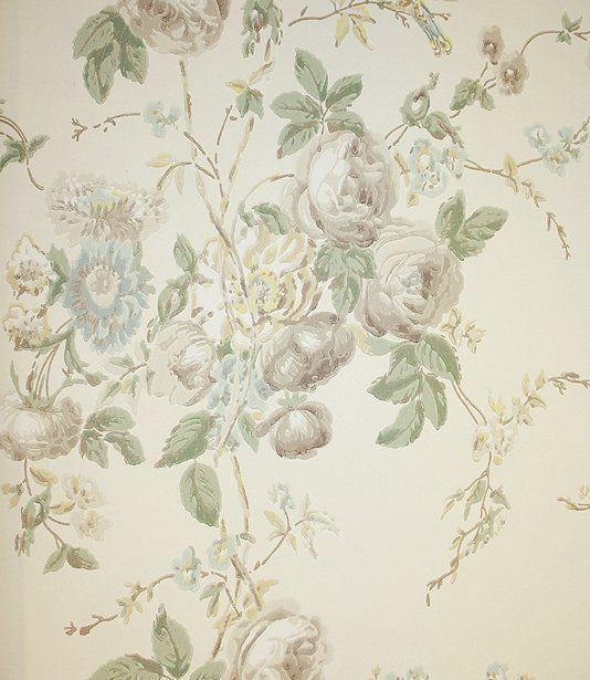 Roses Hummingbird Wallpaper A Lovely Soft Floral Bouquet Design In Aquas Sages And Taupes
