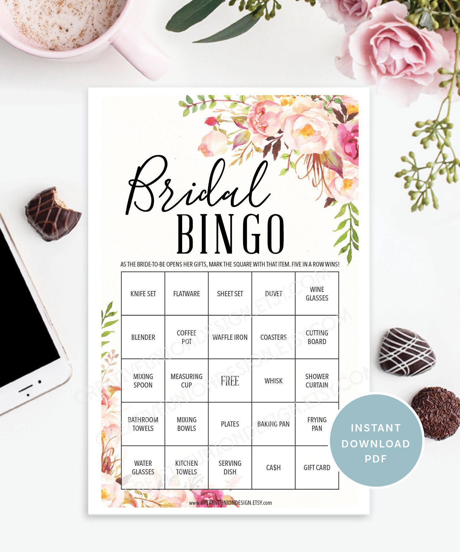 Antique Rose Bridal Shower BINGO game | DIY Printable Shower Game #bridalshowerdecorations