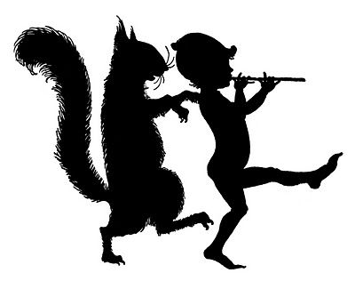 Vintage Clip Art - Elf with Squirrel - Silhouettes - The Graphics Fairy