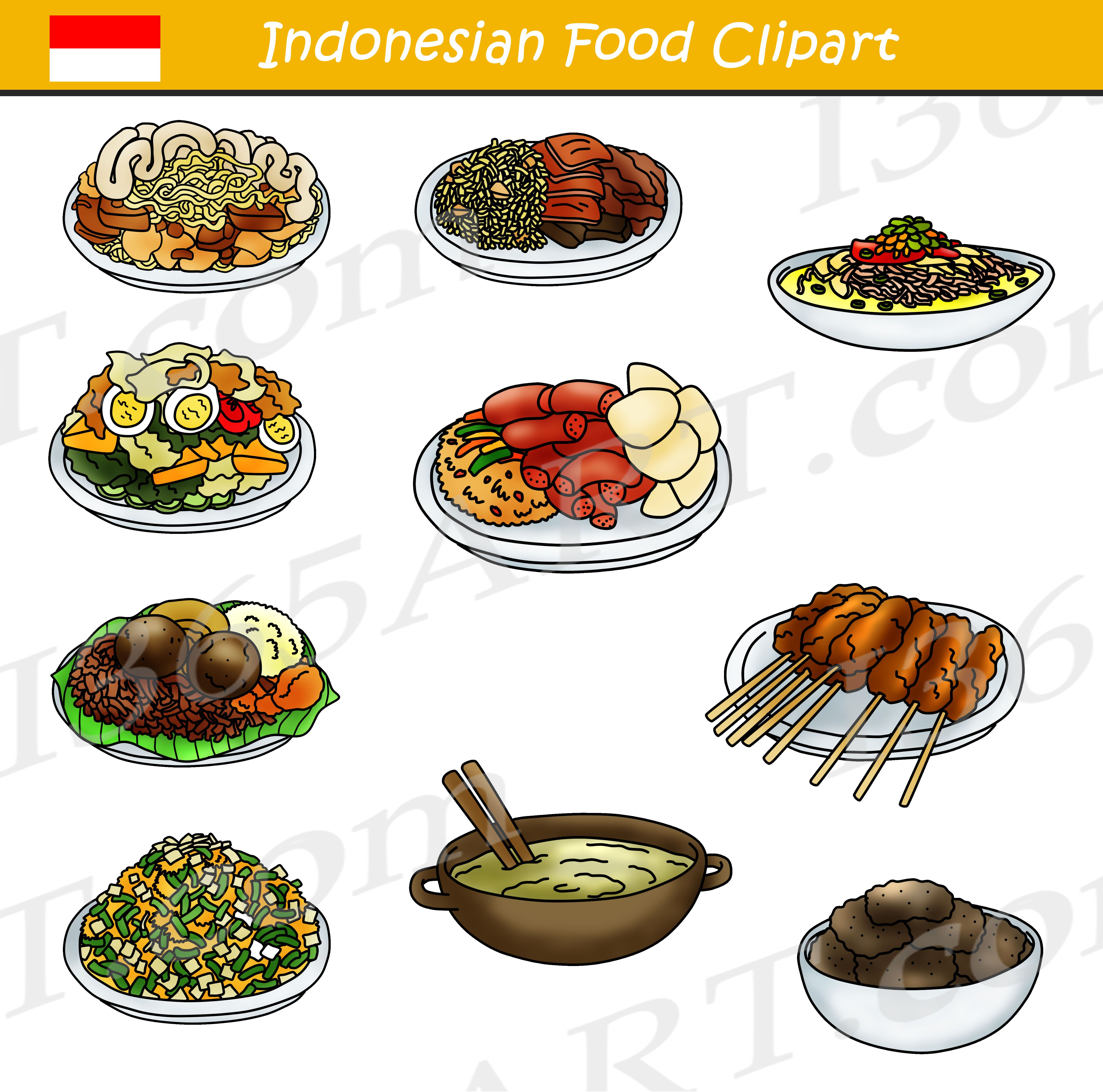 Indonesian Food Clipart Bundle Food clipart, Indonesian
