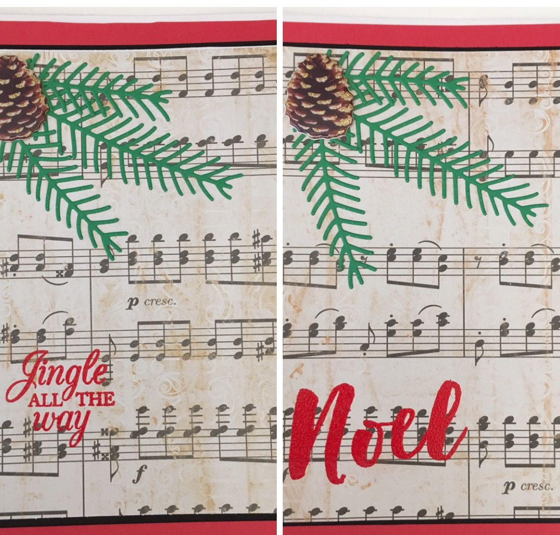 Cby Handmade Christmas Greeting Card Using Sheet Music Paper Die