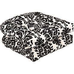 Pillow Perfect Outdoor Black Beige Damask Seat Cushions Set Of 2