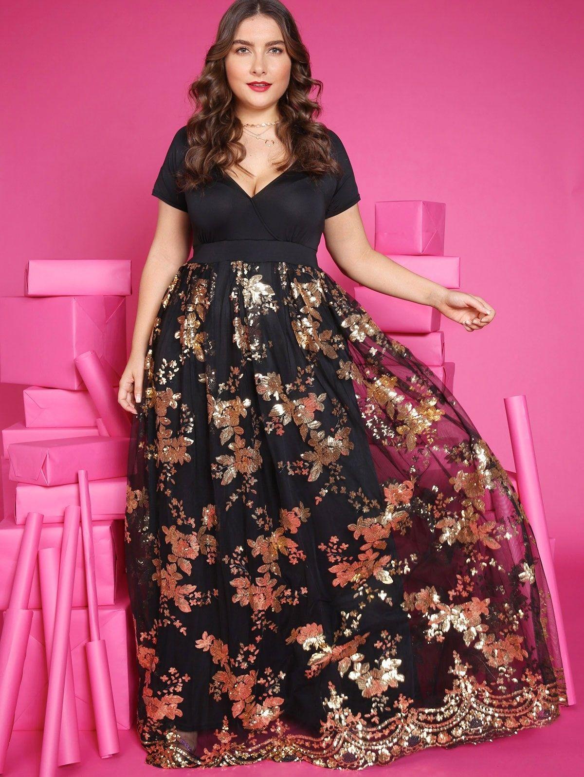 87063e11b4c Plus Size Sequined Floral Maxi Formal Dress -