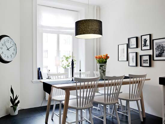 40 Awesome Scandinavian Dining Room Designs With White Wall And Wooden Table Chair Chandelier Clock