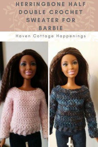Herringbone Half Double Sweater for Barbie - Haven Cottage Happenings