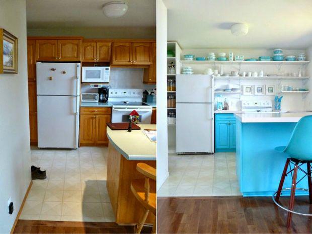 Hometalk Turquoise Kitchen Makeover - Colorful Kitchen Renovation - Good Housekeeping
