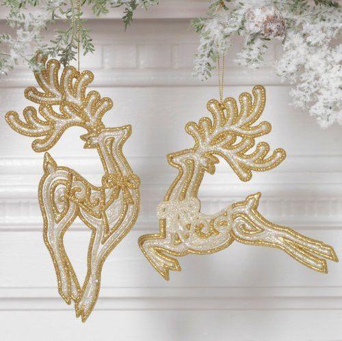 RAZ Leaping Reindeer Ornaments, Set of 2