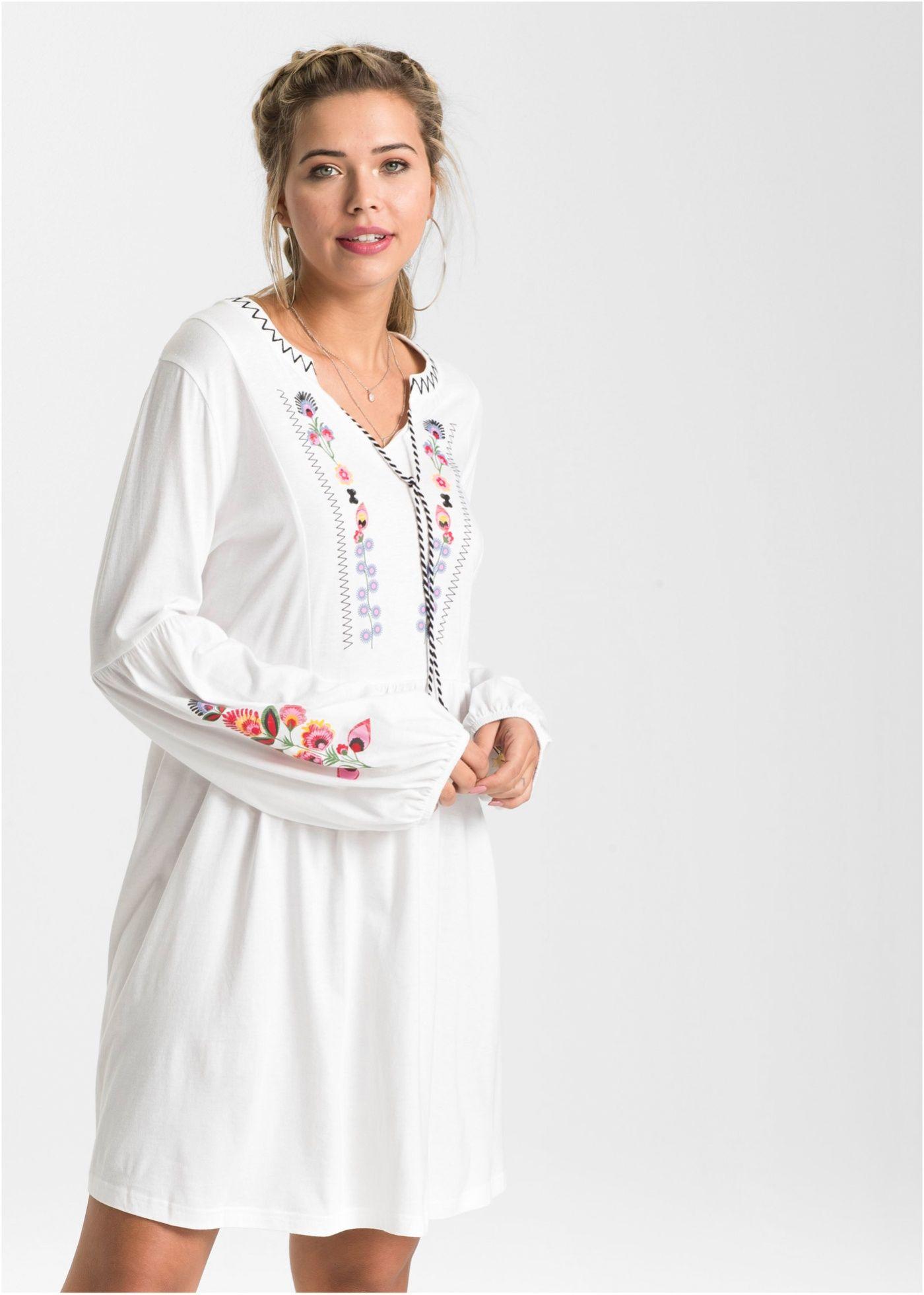 Stylishes Boho-Shirtkleid mit angesagtem Druck - weiß ...