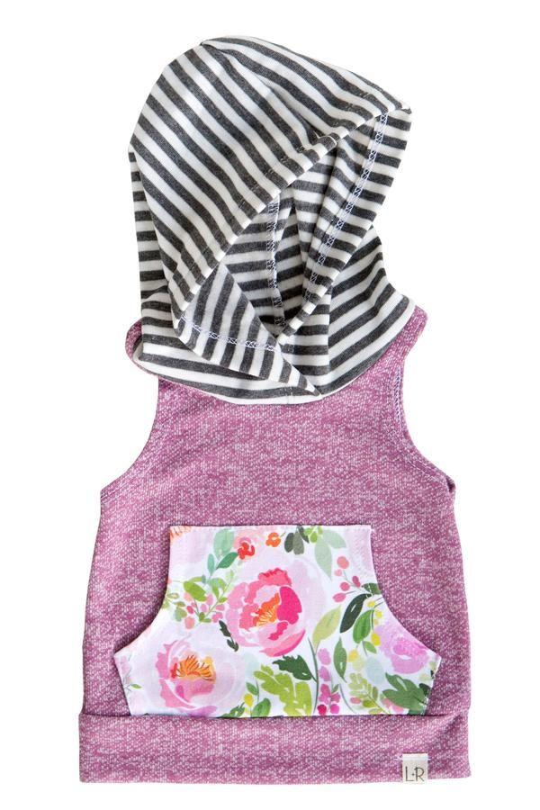 Plum peony floral sleeveless hoodie