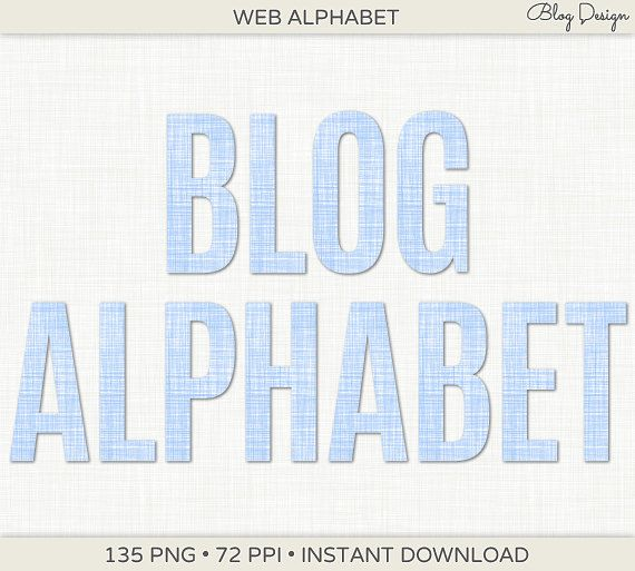 Baby Blue Linen Alphabet Clip Art #blogdesign #webdesign #website #digital #graphics