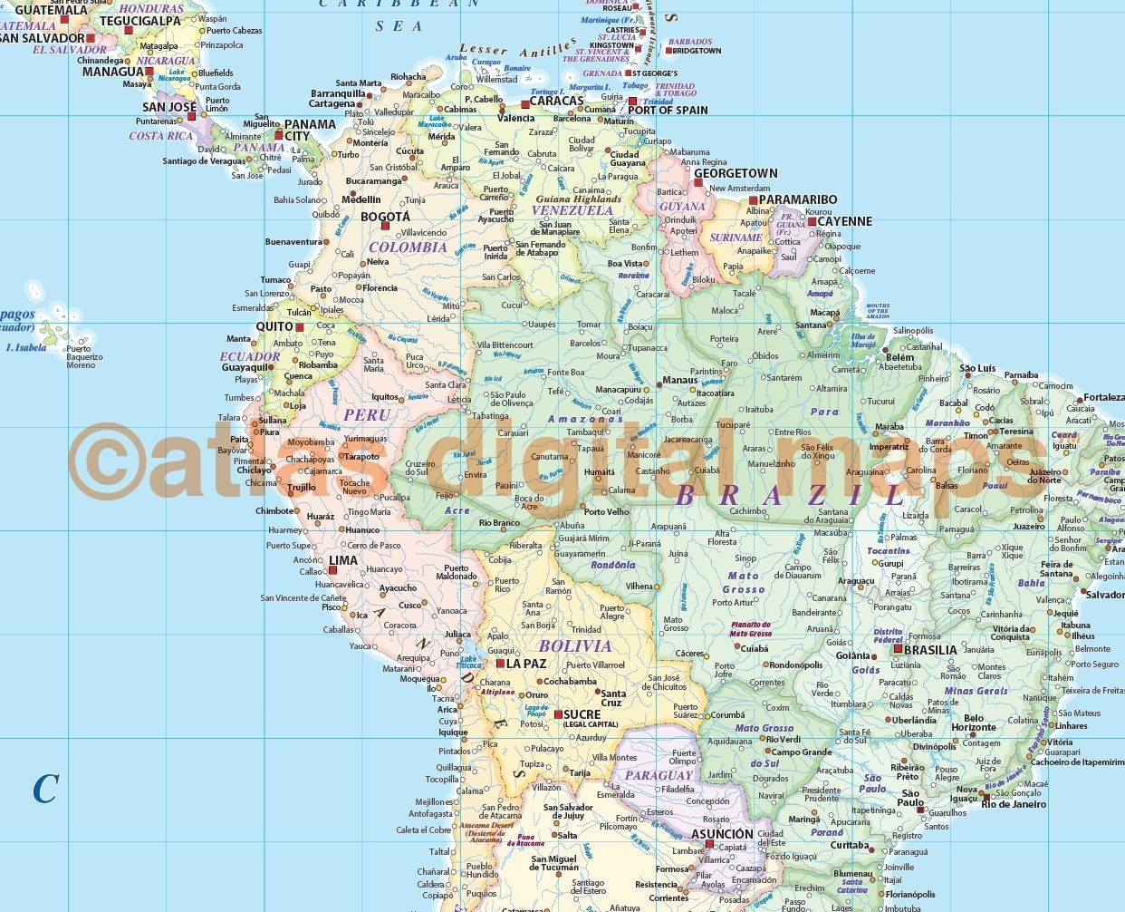 Extra-wide political map of South America in pastel colours | Extra ...