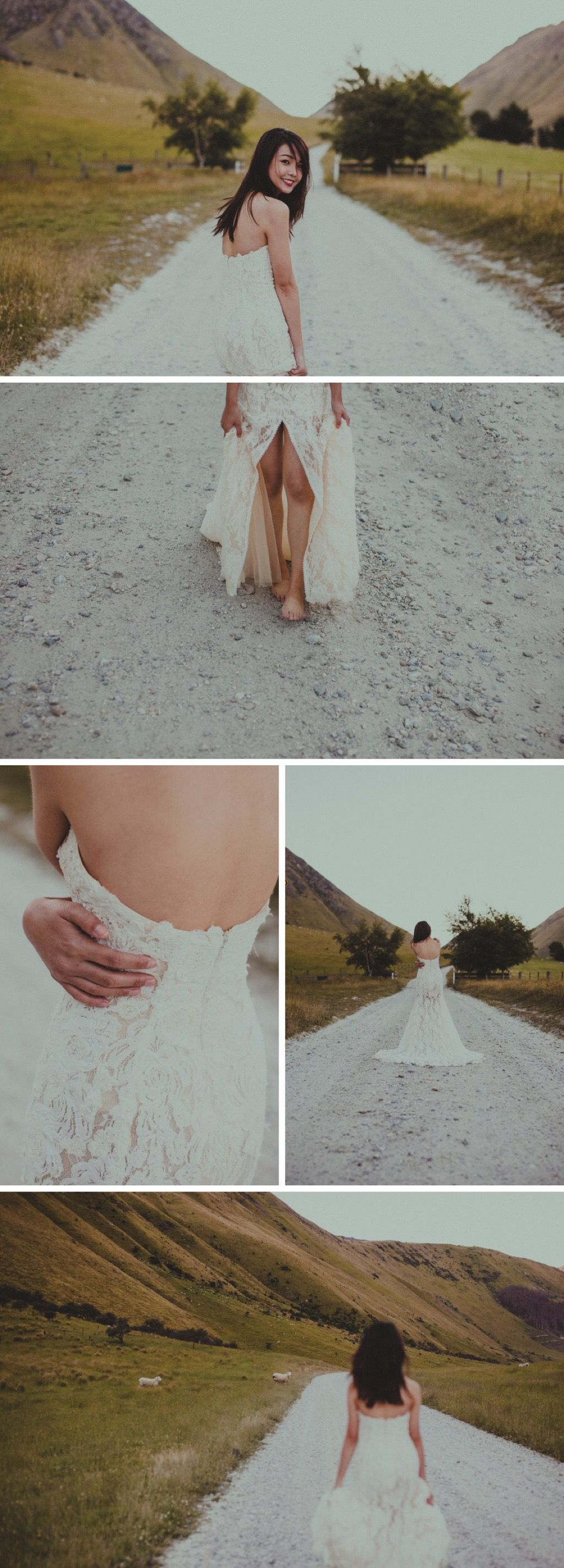 White lacy gown // Wild & Moody Wedding Inspiration Photoshoot