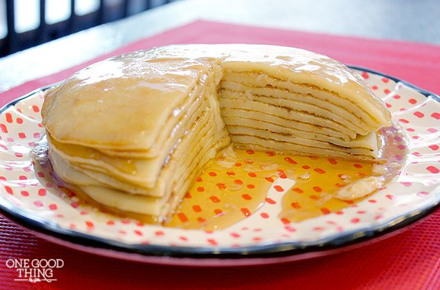 Norwegian Pancakes - these pancakes are world famous and probably the easiest breakfast you could make on Christmas morning  4 Eggs 1/2 Cup Warm Water 1 tsp Vanilla 1/3 Cup Sugar 1/3 Cup Melted Butter 1 1/4 Cup Flour 1 Cup Milk Add eggs, water and vanilla to blender. Blend. Add remaining ingredients, blending after each addition until smooth. Butter a griddle with butter. Heat pan to medium; then pour 1/4 cup batter onto griddle (it is a very thin batter.) Let cook 1 minute per side.