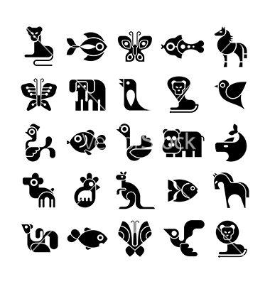 Black and white animal icon set vector on VectorStock   Animals ...