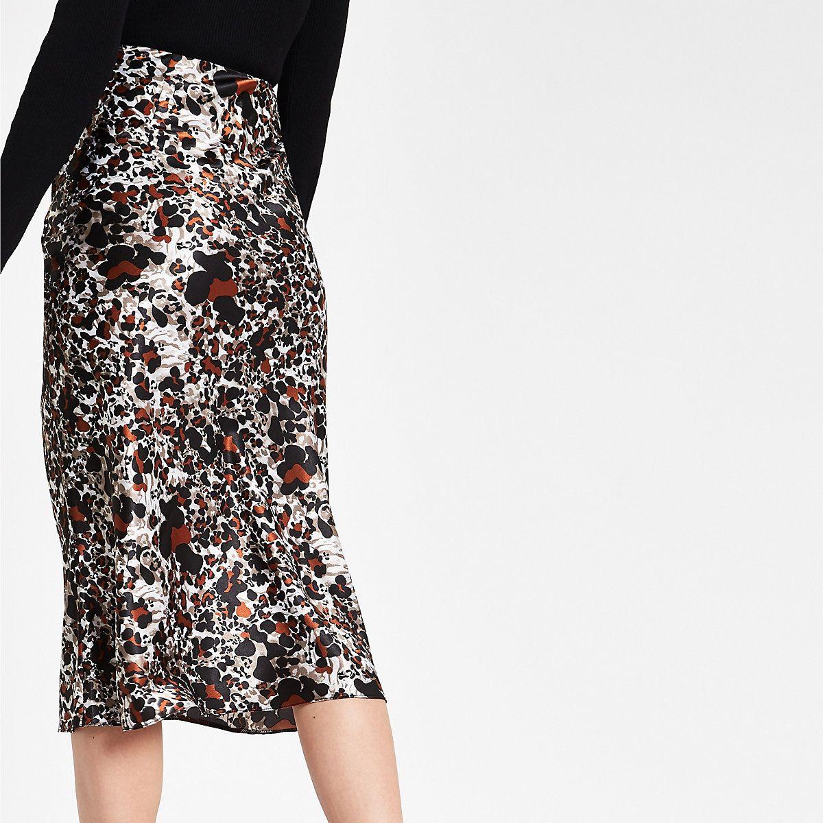 c8065e8b2f79 Rust leopard print satin bias midi skirt - Midi Skirts - Skirts - women