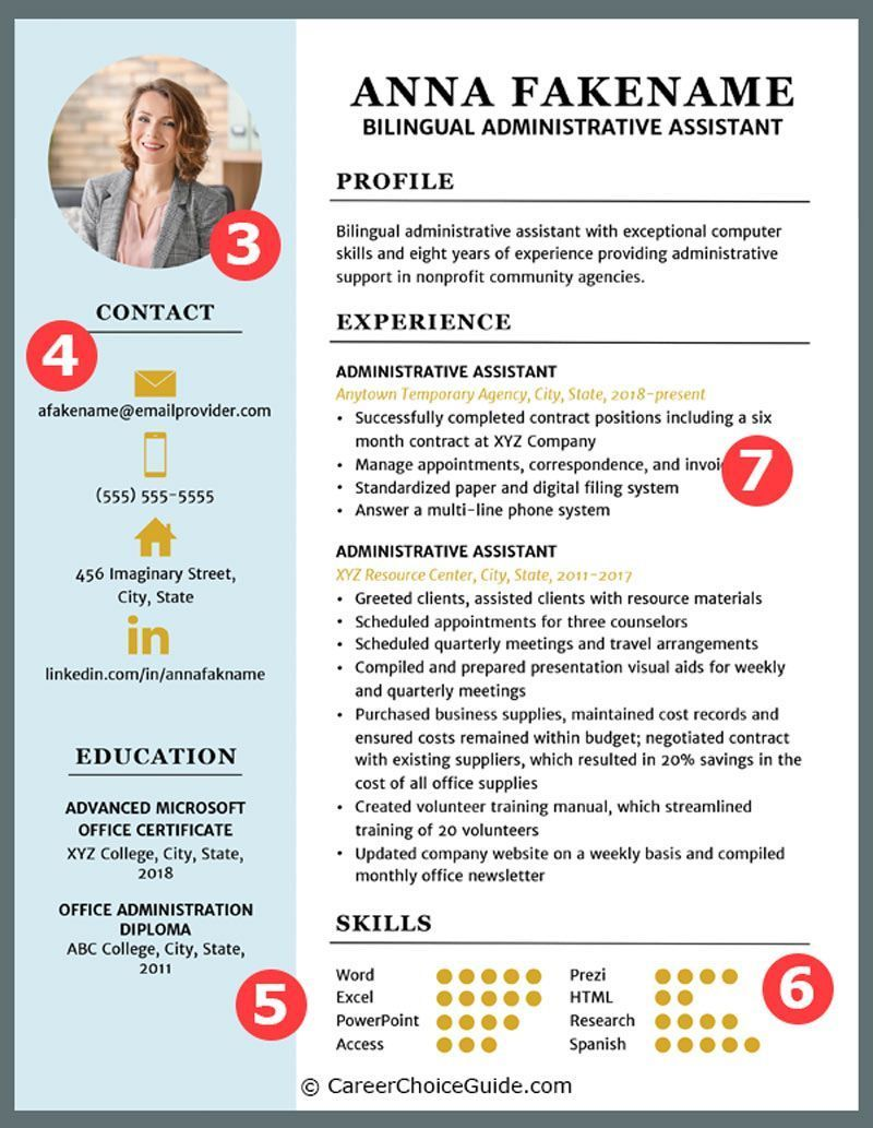 Two column, colorful, creative resume template with job