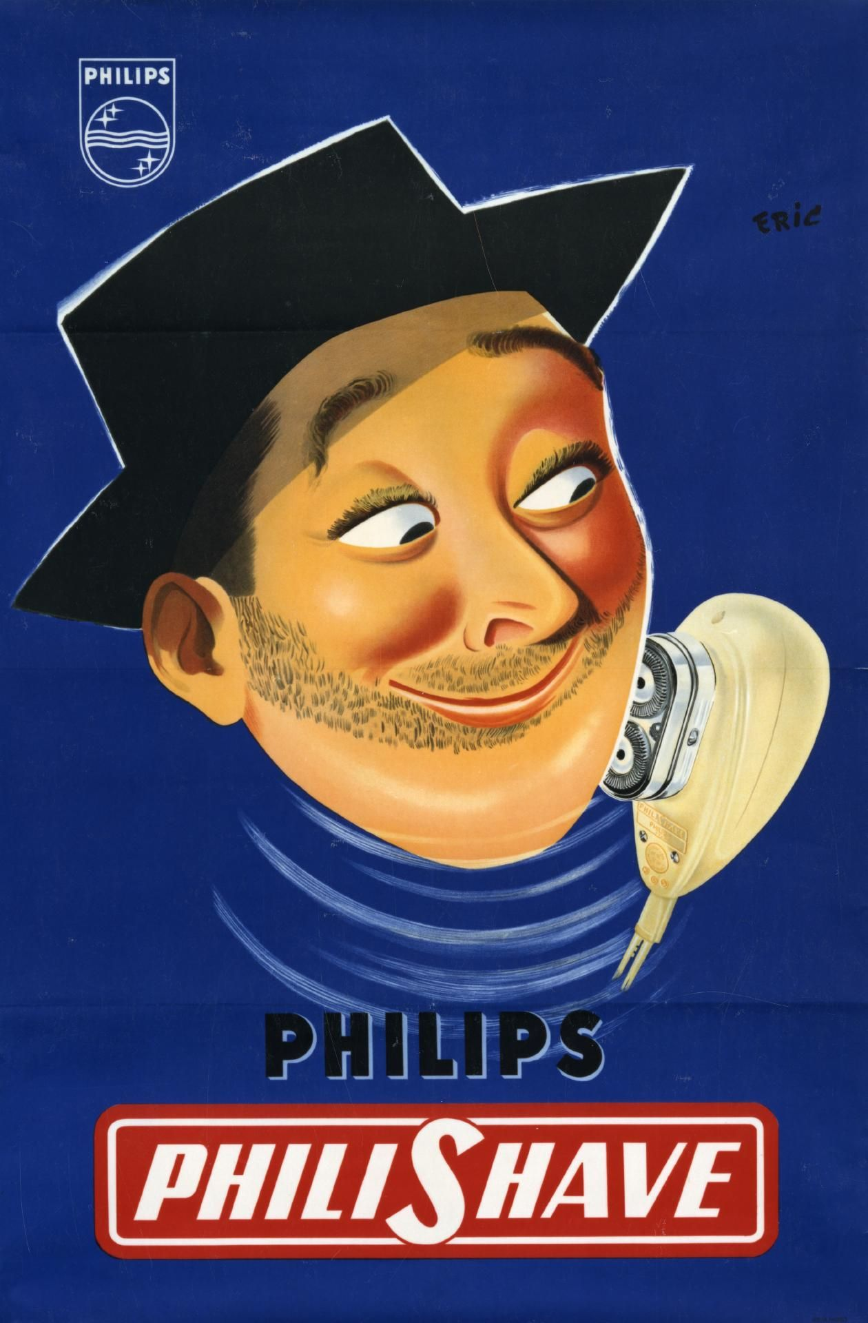 Philishave, reclame, poster, 1954 | 75 years of shaving ...