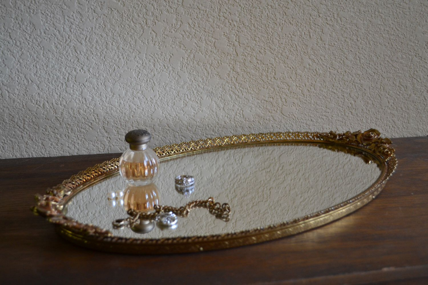 Lovely oval vanity tray with rose handles gold dresser mirror