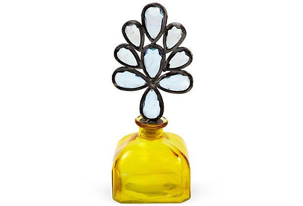 "Crystal-Top Amber Glass Decanter  ($118 Retail $65.00 OneKingsLane) 4""L x 4""W x 10""H"