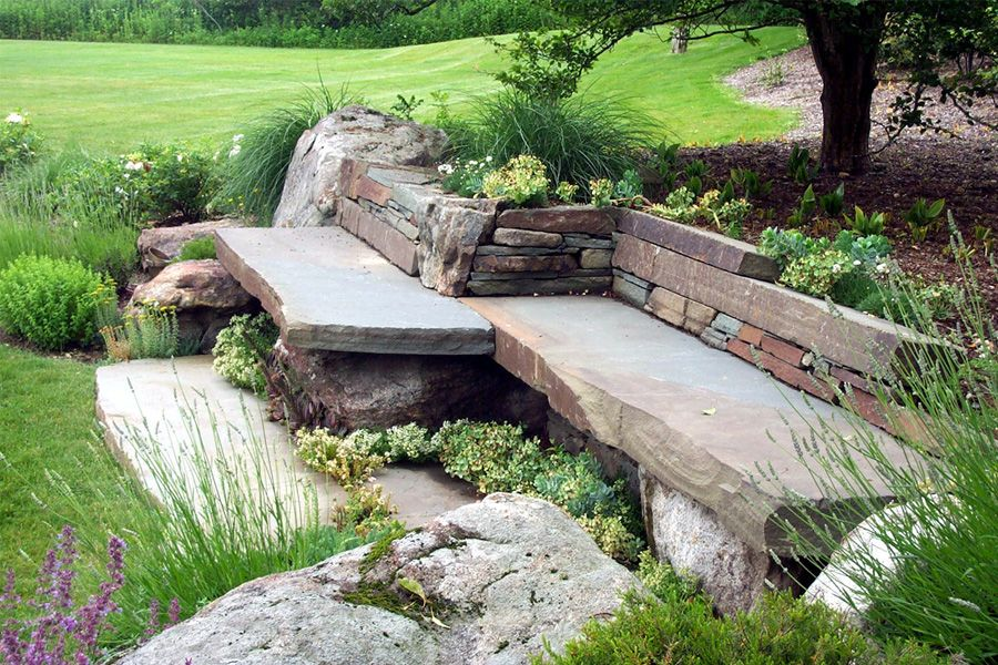 Attractive Garden Benches Karney® Wallstone And Bluestone Wallstone