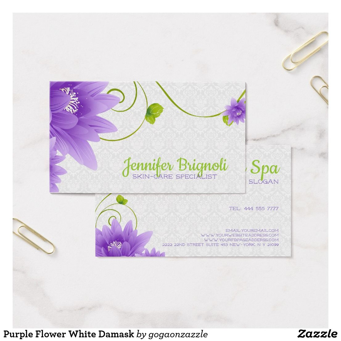 Purple flower white damask business card business pinterest purple flower white damask business card reheart Gallery