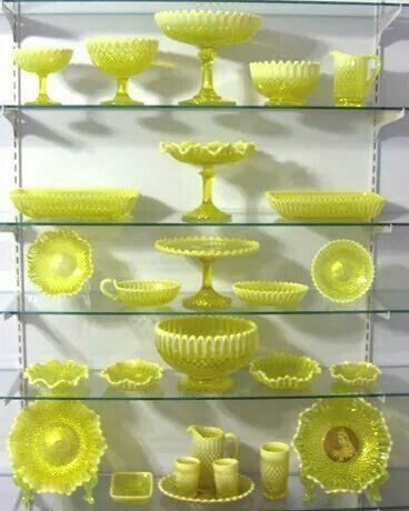 Yellow Vaseline Glass   Yellow green hobnail or vaseline glass