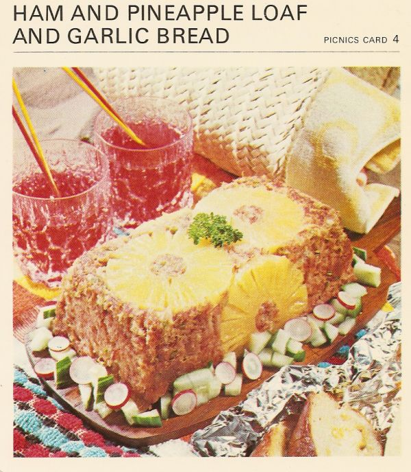 Ham and pineapple loaf with garlic bread picnic vintage recipe card food forumfinder Choice Image