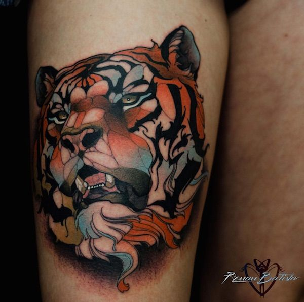 Neo Traditional Tattoos Of People And Animals Created Using Polygonal Shapes Designtaxi Com Flower Hip Tattoos Tiger Tattoo Neo Traditional Tattoo