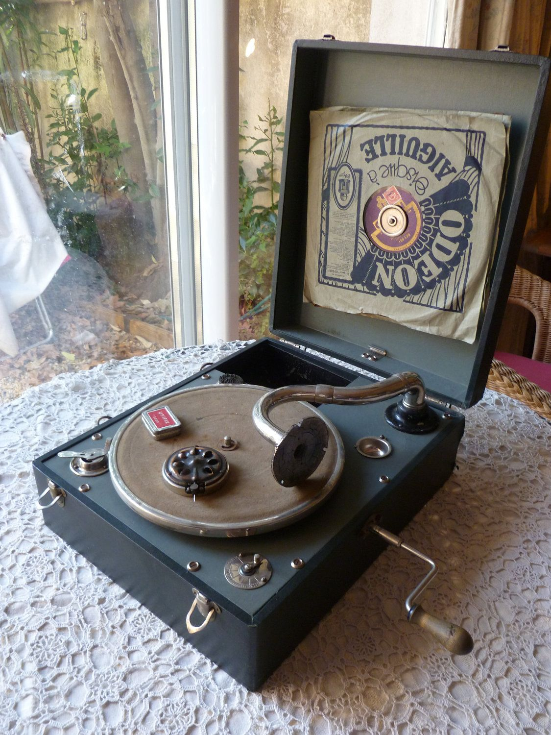 Vintage French Portable Wind Up Phonograph Gramophone