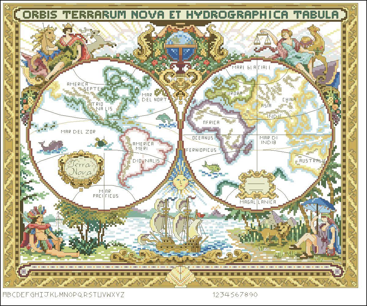 Схемы вышивки карта мира